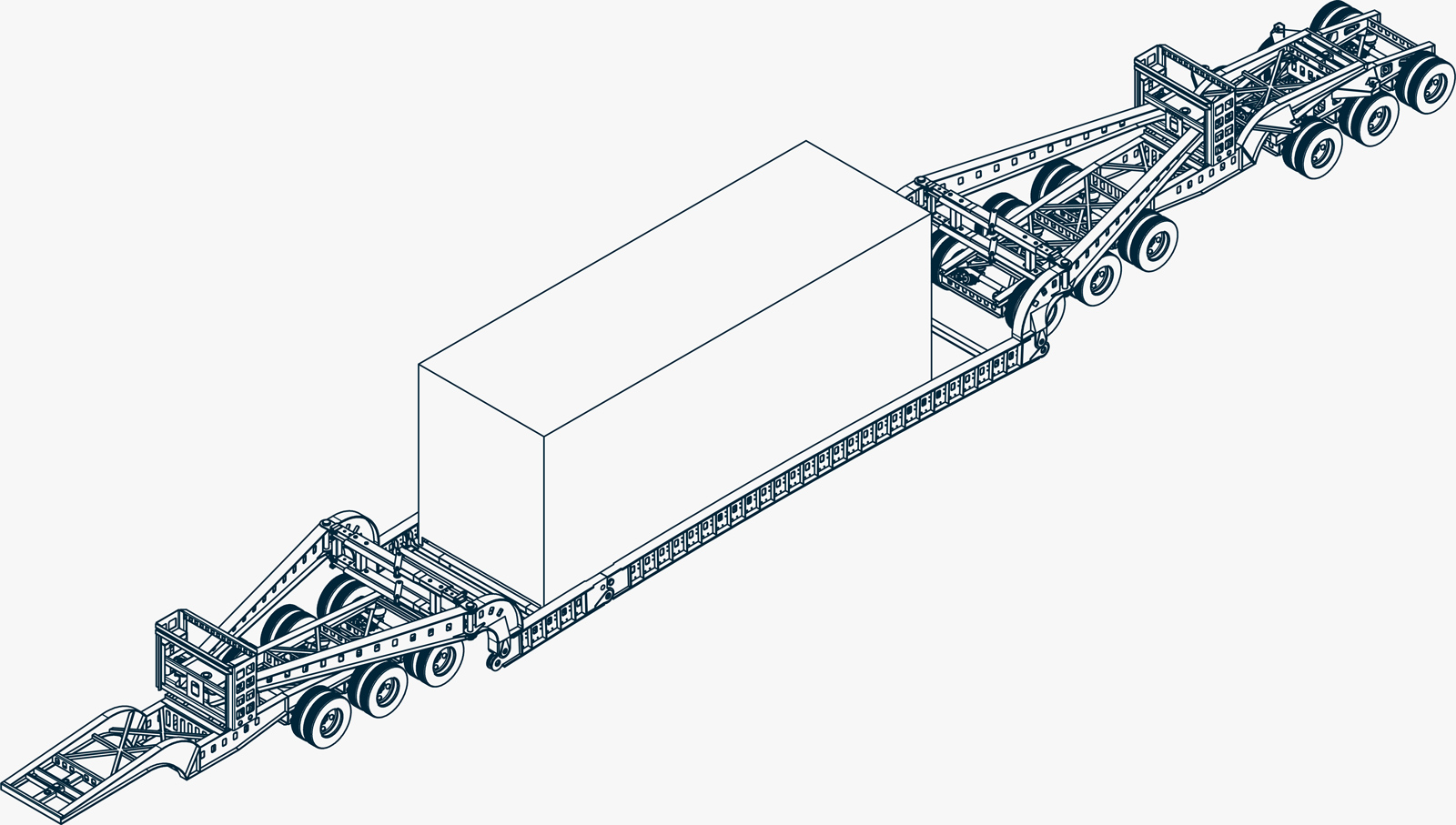 A mechanical drawing of a perimeter 13 axle trailer shown in an isometric view.