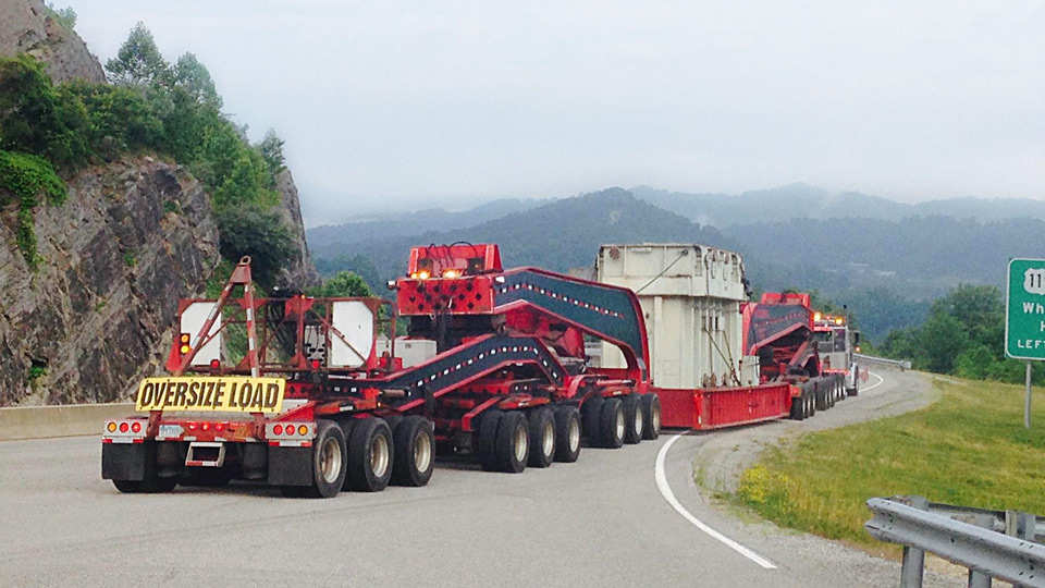 A 19 axle loaded with a transformer moves through the mountains of West Virginia.
