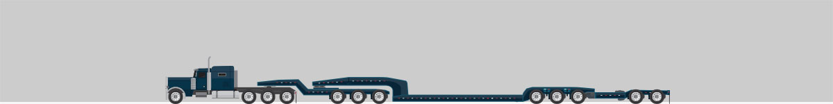 A side view drawing of a truck connected to a 11 axle trailer.