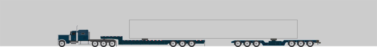 A side view drawing of a truck connected to a steerable setup.