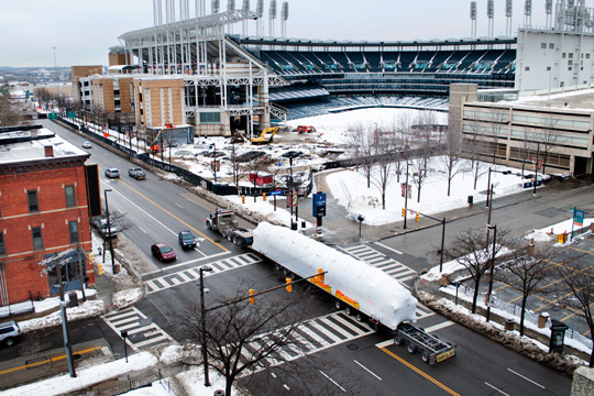 A large superload being transported right past Progressive Field in Downtown Cleveland.